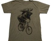 Black Friday SALE Moose on a bicycle tee - Army green unisex american apparel shirt
