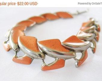 Holiday Sale Articulated Bracelet Enamel Salmon Silvertone 1950's Orange