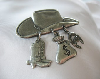 Cowboy Hat Button Cover, Country Western, Antique Silver tone, Dangles, Cowboy Boots, Money Bag, Horseshoe, Stamped Metal, Vintage 1980s