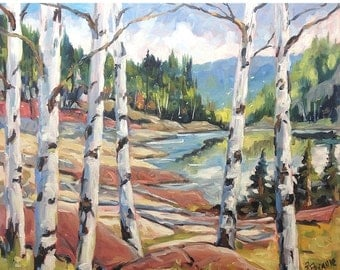 """On Sale Canadian Shield -  End of Summer Landscape - Original Oil Painting - 24X20X0.75"""" created by Prankearts"""