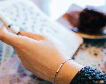 Sterling Silver Layering Bracelet - Positive Vibes - Sterling Silver Bead Bracelet - Simple Bracelet - Wish Bracelet - Yoga Bracelet - Cord