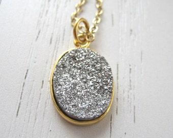 Silver in Gold Setting Druzy Titanium Agate Pendant Necklace