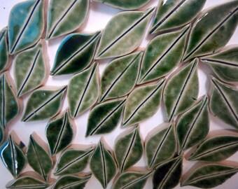 Green Leaves Mosaic Tiles-Stoneware Leaves