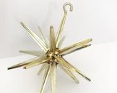 SALE 15% OFF Vintage CHRISTMAS Ornament Atomic Star Sputnik Gold Plastic