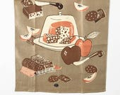 Mid Century Modern 1950s Tea Towel Cheese Dome Crackers Apples Sausage Party Time Hostess Gift MWT Mint with Tag