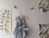 Gray Linen Romper, Linen Sunsuit, Baby Romper, Toddler Romper, Linen Baby Sunsuit, Linen Toddler Romper, Gray Romper, Spring Sunsuit
