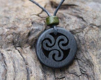 Irish bog oak Celtic Hand-carved Triskele necklace ~ Handmade in Ireland ~ 5000 year old Irish bog oak Celtic necklace