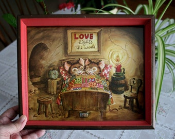 Love Art Print, Mice Mouse, Love Lights the World, Cute Mouse Print, Marriage Gift, Anniversary Gift, Orange Frame, Bedroom Decor, Wall Art