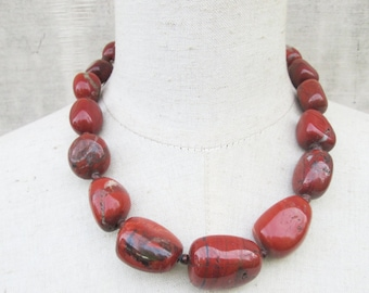 Chunky Graduated Red Jasper Nuggets Necklace, OxBlood Rust Terracotta