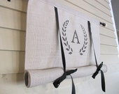 CUSTOM Order for ANGIE    Neutral Gray Burlap Monogram Swedish Roll Up Window Shade Stage Coach Blind Tie Up Curtain Swag Balloon