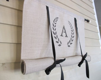 Neutral Gray Burlap Monogram 48 Inch Long Swedish Roll Up Window Shade Stage Coach Blind Tie Up Curtain Swag Balloon