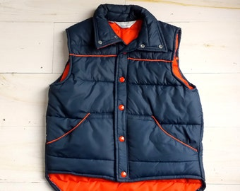 Vintage JCPenney Boys Sports Outerwear Navy Puffer Vest