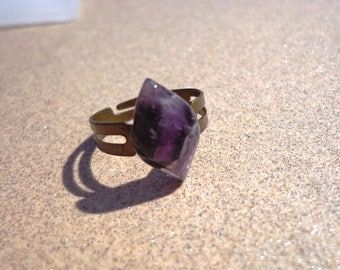Amethyst Ring, Tapered Oval Gemstone Cabochon on Adjustable Antiqued Brass Ring Base, Calming Stone, Healing Stone, Comfort Stone