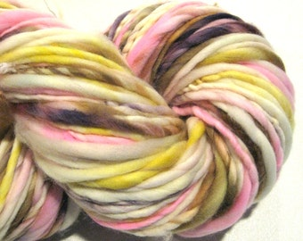 Handspun Yarn, Easter Basket 114  yards, hand dyed merino wool,pink yarn, brown yarn, yellow waldorf doll hair, knitting supplies,crochet