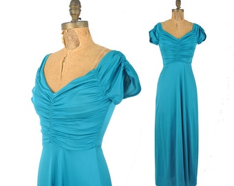 vintage 70s gown / ruched turquoise maxi dress / 1970s sweetheart dress .. xs-small