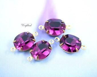 Preciosa Amethyst Purple Glass Oval Stones 12x10mm Brass Prong Settings - 4