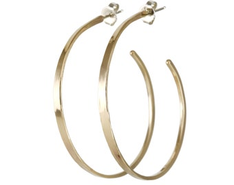 Forged Gold Hoops- large forged hoops, modern hoops, gold-filled, sterling silver posts, handmade hoops, gold-filled hoops, classic hoops