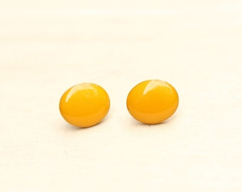 Yellow Oval Studs
