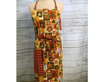 Adult Apron in Country Christmas - Unisex