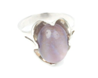 Fire Opal Art Glass Cab Sterling Ring Size 8 Vintage