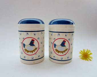 Vintage Salt & Pepper Shaker set - Blue Flowered Hen Chicken On Nest Shakers- Country Hen - Farmhouse Kitchen - Made in Japan