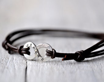 Silver Personalized Infinity Bracelet, Leather with Personalised word or name, Valentines, Leather Anniversary gift for him or unisex