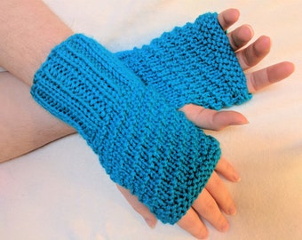 Fingerless Gloves Mitts in Aqua Blue - fits adult hands