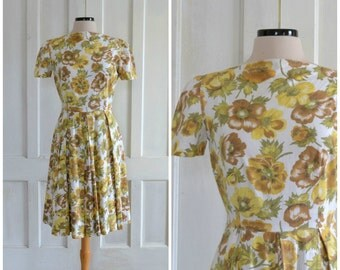 50s Floral Cotton Dress 60s Day Dress Full Skirt Boat Neck Dress