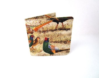 Mens Fabric Billfold / Wallet / Pheasants / Washable / Handmade
