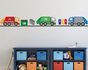 Wall Decals Garbage Truck & Recycling Truck with Straight Road Matte Fabric Peel and Stick Repostionable Eco-friendly Wall Stickers