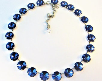 14mm Tanzanite Swarovski Crystal Rivoli Rhinestone  Necklace, Anna Wintour Inspired, Big Stones Necklace Layering Necklace, Rhodium Silver
