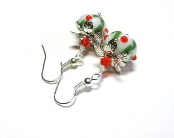 Lampwork Earrings, Green, White, Red Earrings, Swarovski Austrian Crystals, Silver, Holiday Earrings