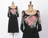 Vintage 70s Floral DRESS / 1970s Belted Black & Pink Draped Midi Dress