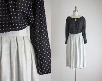 dove grey linen skirt