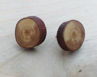 Apple Wood Earrings, Wood Fake Gauge Earrings, Rustic Tree Slice Stud Earrings