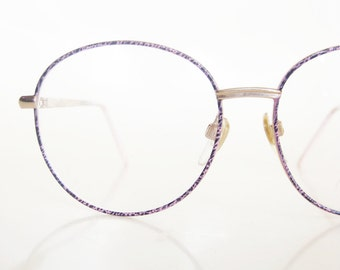 Vintage 1980s Pink Eyeglasses Mottled Black Cotton Candy Round Oversized Wire Rim Geek Chic Girly 80s Eighties Huge P3 Glasses Sunglasses