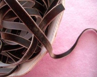 Chocolate Mocha Velvet Ribbon - 3/8 inch - 3 Yards