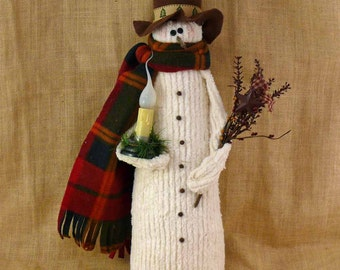 Lighted Large Fabric Snowman Winter Joe