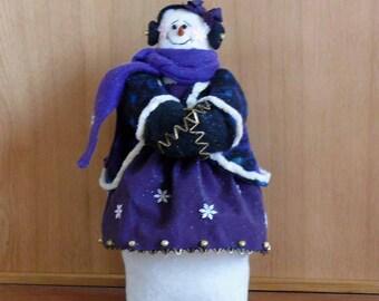 Belle Small Fabric Snowman Decoration