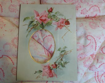 Vintage Victorian or Edwardian Floral Photo Mount Roses