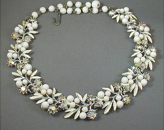 Vintage White Leaves Beads and Aurora Rhinestone Necklace