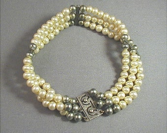 Antique Edwardian Small Pearl Sterling Bracelet