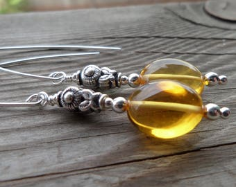 AAA Golden Citrine Gemstone Birthstone Sterling Silver Earrings