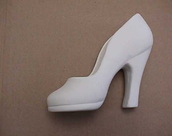 Plain High Heel Shoe Ready to paint ceramic 04 cone bisque 5.5 inches