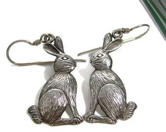 Vintage SEATED RABBIT STERLING Earrings Pierced Bunny Dangle Easter Spring