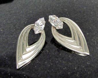 Vintage KABANA CZ STERLING Earrings Pierced Bridal Wedding Designer Signed