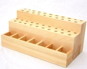 49 Hole Solid Wood Bench Top Tool, Stamp, Etc Tool Organizer