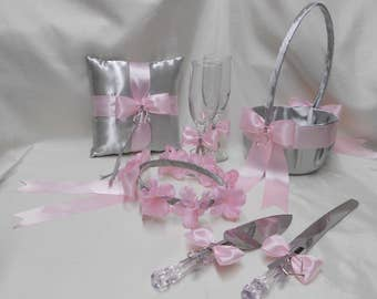 Wedding Accessories Silver Light Pink Flower Girl Basket HaloRing Bearer Pillow Guest Book Pen Cake Knife Server Set Your Colors