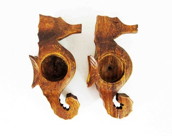 Vintage Pair of Seahorse Tealight Holders in Teak. Circa 1950's - 1960's.