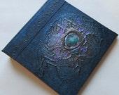 Handmade Journal Indigo blue copper nebula Refillable 4x4 OOAK Original jotter notebook